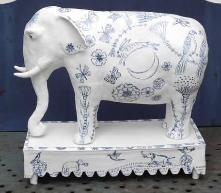 porcelain Indian Elephant side view