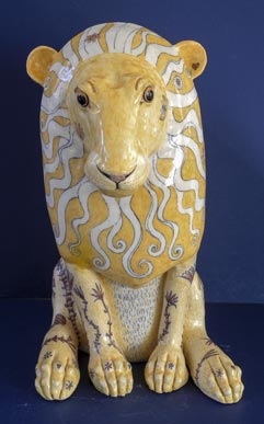 Ceramic Lion by G Warne front view