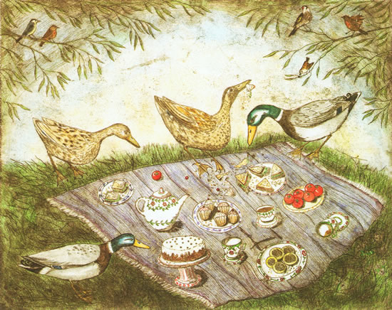 painting of a bird picnic